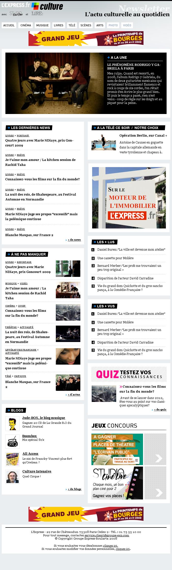 Newsletter pour lexpress Culture